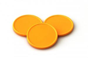 Plastové kolečko (žeton) žluto-oranžové