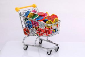 Žetony do vozíku - různé barvy žetonů s reklamním potiskem