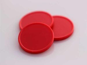 Plastová kolečka (žetony) červená